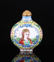 19th C. Chinese Enamel Western Figure Snuff Bottle
