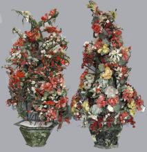 Pair of Chinese Gem Stone Flowers w/ Jardinieres