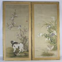 19th C Pair of Framed Chinese Painting of Animals