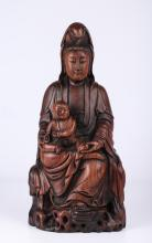 Chinese Hardwood Carved Guan Yin Figure