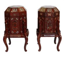 19th C. Pair of Chinese Lacquer Storage Tables