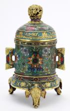 Chinese Cloisonne Tripod Incense Burner and Cover