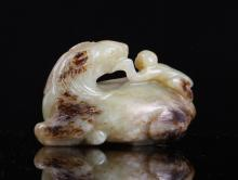 Chinese Jade Carved Horse w/ Monkey
