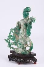 Chinese Jade Carved Beauty on Bood Base