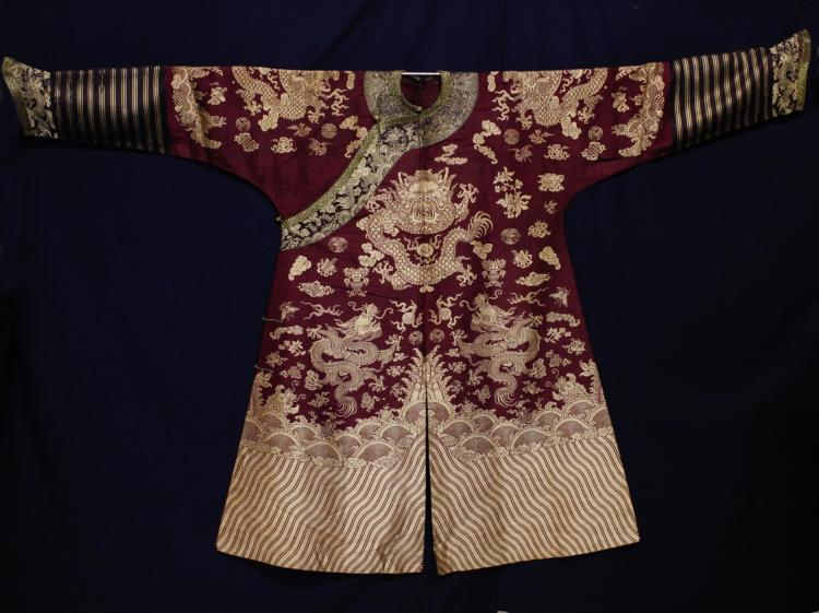18/19th C. Chinese Burgundy Five Paw Dragon Robe