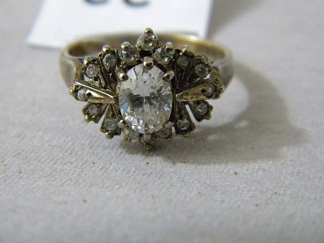 Sterling Silver  Ladies' Diamond Ring Size 7
