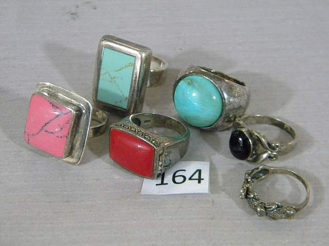 Lot of Vintage South Western Sterling Silver Rings (5 rings)