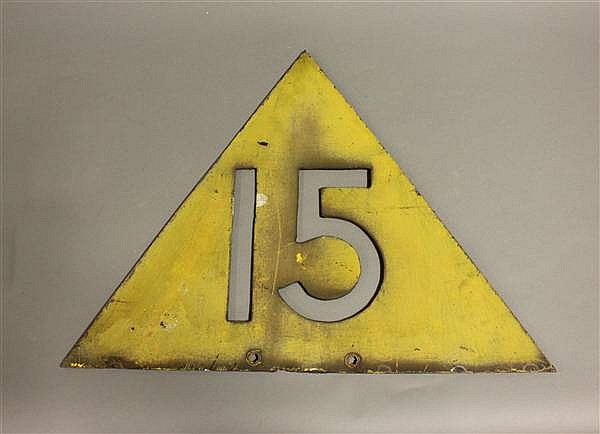 CAST IRON TRIANGULAR 15 MPH RAILROAD SPEED LIMIT SIGN