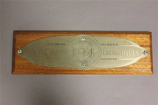 RAILROAD BUILDERS PLATE EMD NO. 14768, 10/51