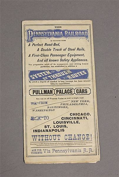 RAILROAD TIMETABLE PRR FEB. 1879