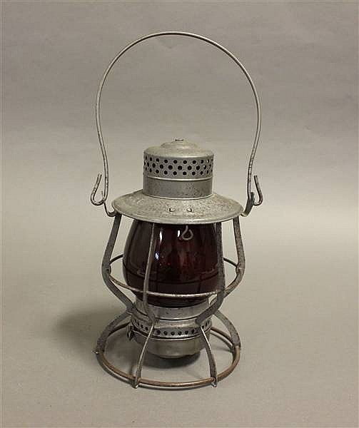 RAILROAD LANTERN CN&Z; ADLAKE RED UNMARKED GLOBE