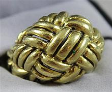 UNMARKED YELLOW GOLD BASKET WEAVE FASHION RING, SIZE 8 1/2, TESTS 18K, 18.1 GRAMS