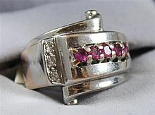 UNMARKED WHITE GOLD FASHION RING WITH DIAMOND AND  RUBY ACCENTS, SIZE 4, TESTS TO 10K, 8.8 GRAMS TOTAL