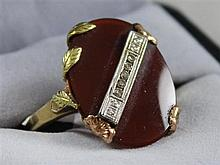 STAMPED 10K VINTAGE CARNELIAN RING WITH DIAMOND ACCENTS, SIZE 8 1/4, SHANK OF RING MISHAPPEN 4.7 GRAMS TOTAL