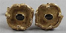 PAIR STAMPED 14K YELLOW GOLD CUFF LINKS BROWN STAR SAPPHIRE ACCENTS, 1