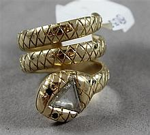 UNMARKED YELLOW GOLD SNAKE RING WITH APPROX