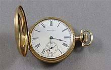 STAMPED 14K YELLOW GOLD WALTHAM HUNTER CASE # 16675640 POCKET WATCH 38 MM DIAMETER, 47.1 GRAMS TOTAL