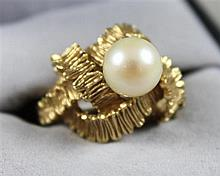 STAMPED 18K YELLOW GOLD PEARL FASHION RING, SIZE 5 1/2, 8.9 GRAMS TOTAL
