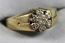 UNMARKED YELLOW GOLD SMALL DIAMOND CLUSTER RING, SIZE 7 1/2