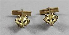 PAIR STAMPED 14K YELLOW GOLD FOX CUFF LINKS, 1/2