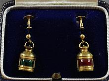 PAIR STAMPED 375, 9 K SHIP'S LANTERN EARRINGS WITH BOX, 3/4