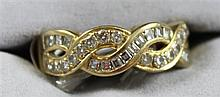 STAMPED 750, 18K YELLOW GOLD BAND WITH DIAMOND ACCENTS, SIZE 7 1/4