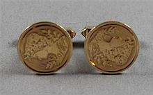 PAIR STAMPED 14K YELLOW GOLD COIN STYLE CUFF LINKS, 3/4