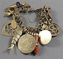 STAMPED 14K YELLOW GOLD CHARM BRACELET WITH 20 CHARMS GOLD FILLED - 14K AND CORAL,  7 1/2
