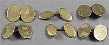 THREE PAIRS STAMPED14K - 18K YELLOW GOLD CUFF LINKS, 5/8