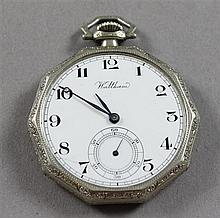 STAMPED 14K WHITE GOLD WALTHAM OPEN FACE 17 JEWELS, #24453343 POCKET WATCH, 45 MM DIAMETER, 51 MM DIAMETER ,NO CRYSTAL, HAIRLINE IN...