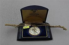 WALTHAM PREMIER COLONIAL 10K YELLOW GOLD FILLED OPEN FACE 17 JEWELS, #30503845 POCKET WATCH WITH ORIGINAL BOX, 44 MM DIAMETER