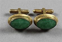 PAIR STAMPED 14K YELLOW GOLD JADE CUFF LINKS, 3/4