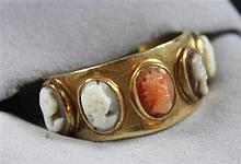 HALLMARKED YELLOW GOLD 5 CAMEO RING, SIZE 7, 4.8 GRAMS TOTAL