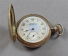 AMERICAN WALTHAM GOLD TONE HUNTER CASE 15 JEWELS, #8833434 POCKET WATCH, 43 MM DIAMETER, HAIRLINES IN ORNATE DIAL