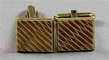 PAIR STAMPED 585, 14K YELLOW GOLD CUFF LINKS, 5/8