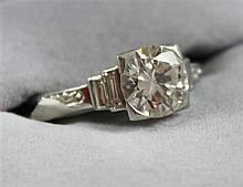 UNMARKED PLATINUM APPROX 1.56 CT ROUND BRILLIANT DIAMOND RING, SIZE 7, 3.3 GRAMS TOTAL, REPLACEMENT VALUE $22,780.00