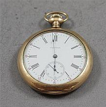 AMERICAN WALTHAM ROYAL GOLD TONE OPEN FACE 17 JEWELS, #12884840 POCKET WATCH, 47 MM DIAMETER