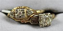 TWO STAMPED 14K YELLOW GOLD RINGS WITH DIAMOND ACCENTS APPROX .32 CT TW, SIZE 5 1/4- 6 1/4, 3.2 GRAMS TOTAL, SOME CHIPS ON DIAMONDS,...