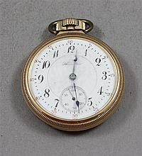 HAMILTON 992 GOLD FILLED OPEN FACE 21 JEWELS, #1216529 POCKET WATCH, 50 MM DIAMETER, BOW IS LOOSE