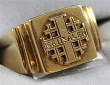 STAMPED 14K YELLOW GOLD JERUSALEM RING, SIZE 10 1/4,  9.2 GRAMS