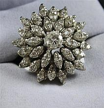 STAMPED 14K WHITE GOLD DIAMOND CLUSTER RING WITH APPROX