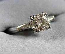 STAMPED PLATINUM APPROX  .95CT ROUND BRILLIANT DIAMOND RING, SIZE 7 1/4, 4.3 GRAMS TOTAL, REPLACEMENT VALUE $10,050.00