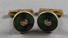 PAIR STAMPED 18K YELLOW GOLD JADE DISC STYLE CUFF LINKS, 1/2