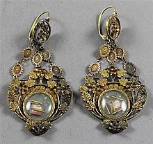 PAIR STAMPED 10K VINTAGE ORNATE YELLOW GOLD CHANDALIER STYLE EARRINGS - SOME DAMAGE, 4