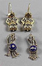 TWO PAIR VINTAGE STAMPE 14K YELLOW GOLD DANGLE EARRINGS WITH BLUE AND BLACK ENAMELED ACCENTS, 1 1/2