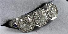 UNMARKED FILIGREE 3 DIAMOND RING WITH APPROX 2.10 CT TW, SIZE 7 1/2, TESTS PLATINUM, 4.9 GRAMS TOTAL, REPLACEMENT VALUE $10,475.00