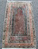 OLD TURKISH KAYSARI SILK PRAYER RUG, 2.1 X 3.8