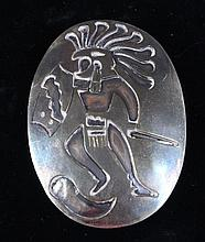SIGNED REH MEXICAN STERLING PIN/PENDANT WITH FIGURAL MOTIF, 2 1/2