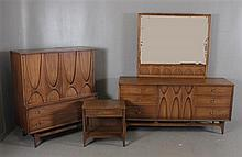3 PIECE BRASILIA BY BROYHILL MID-CENTURY MODERN BEDROOM SET INCLUDING DRESSER WITH MIRROR, NIGHTSTAND, AND TALL CHEST, TALL CHEST IS...
