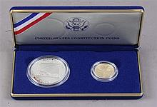 US CONSTITUTION COINS 1987 SILVER DOLLAR AND $5 GOLD COIN